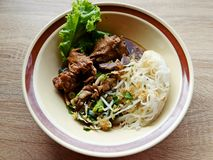 Duck noodle in bowl chinese. Duck noodle in bowl eat food royalty free stock image