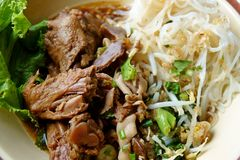 Duck noodle in bowl chinese stock photo