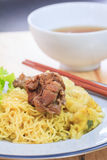 Duck noodle soup. Royalty Free Stock Images