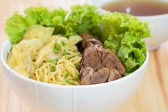Duck noodle soup. Royalty Free Stock Photo