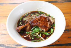 Duck noodle soup Stock Image