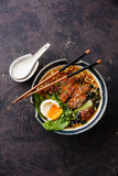 Duck noodles with egg and pak choi cabbage Royalty Free Stock Image