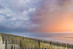 Duck North Carolina Outer Banks-Oostkustzonsopgang stock foto