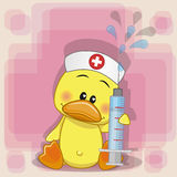 Duck nurse. With a syringe in his hand royalty free illustration