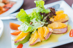 Duck with orange and apple salad Royalty Free Stock Images