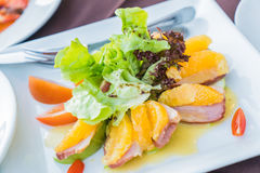 Duck with orange and apple salad Stock Photo