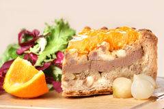 Duck and orange pie with pickled oinions and salad Royalty Free Stock Photo