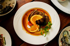 Duck with orange Sauce Royalty Free Stock Photography