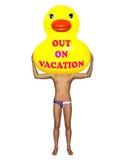 Duck Out On Vacation Illustration de goma amarillo Imagen de archivo