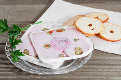 Duck pate with olives. Stock Images