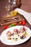 Duck pate on white plate Royalty Free Stock Image