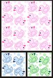 Duck pattern. Seamless duck pattern in three different colour combinations Stock Photo