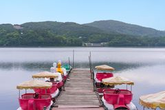 Duck Pedal boats at Lake Kawaguchiko Mount Fuji is a popular recreational site for boating.  stock images
