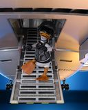 Duck pilot landing on blue planet. This funny duck pilot and also an astronaut cartoon. This guy will put some fun in yours creations royalty free stock image