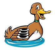 Duck on a pond royalty free illustration