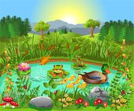 Duck pond near the forest and mountains royalty free illustration