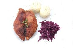 Duck with potatoes and red cabbage Stock Images