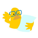 Duck read paper cartoon character  Royalty Free Stock Photos
