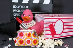 Duck Ready for Movies Royalty Free Stock Photos