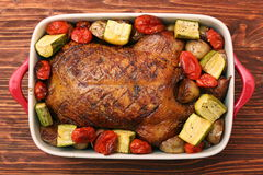 Duck roast with baked vegetables Royalty Free Stock Image