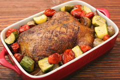 Duck roast with baked vegetables Stock Photo