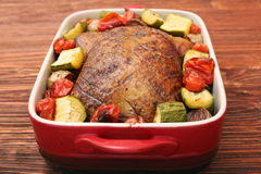 Duck roast with baked vegetables Stock Image