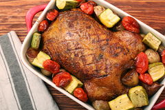 Duck roast with baked vegetables Stock Photos