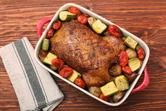 Duck roast with baked vegetables Stock Photography