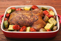 Duck roast with baked vegetables Royalty Free Stock Photos