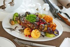 Duck roast with fruits. And vegetables royalty free stock photography