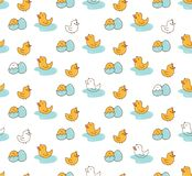 Duck seamless background in kawaii style vector vector illustration