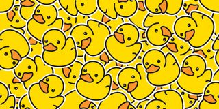 Duck seamless pattern vector rubber ducky isolated cartoon illustration bird bath shower repeat wallpaper tile background gift wra. P paper yellow cute royalty free illustration