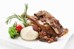 Duck served with sauce Stock Image