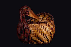 Duck shaped basket. A wicker basket, duck-shaped Stock Images