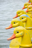 Duck-shaped boat. Duck boat thailand yellow boat stock photos