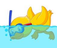 Duck snorkeling cartoon. Illustration of duck snorkeling cartoon Royalty Free Stock Image