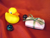 Duck and soap Royalty Free Stock Photos