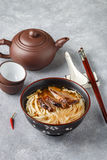 Duck soup with rice noodles and  cabbage Stock Images