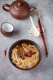 Duck soup with rice noodles and  cabbage Royalty Free Stock Photo