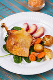 Duck on spinach, potato, apple sauсe and carrot. Royalty Free Stock Image