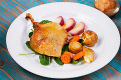 Duck on spinach, potato, apple sauсe and carrot. Stock Image