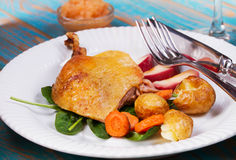 Duck on spinach, potato, apple sauсe and carrot. Stock Photography