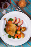 Duck on spinach, potato, apple sauсe and carrot Stock Photos
