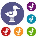 Duck spring see saw icons set Royalty Free Stock Photo