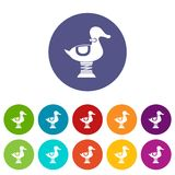 Duck spring see saw set icons Stock Image