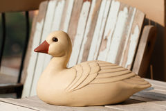 Duck statue with sunlight in the morning Stock Photography