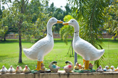 Duck statue on the wall at Wat Phra Prathon Chedi Stock Images