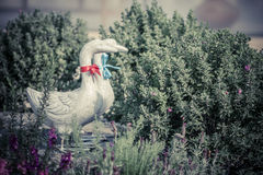 Duck statues in english garden. Vintage style Royalty Free Stock Photography