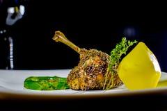 Duck steak with asparagus dish Stock Photos