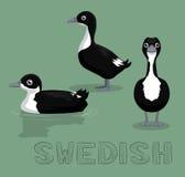 Duck Swedish Cartoon Vector Illustration Fotografering för Bildbyråer
